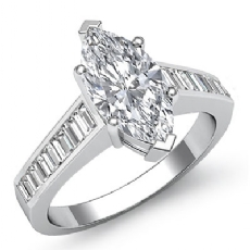 Baguette Channel Set 4 Prong Marquise diamond engagement Ring in 14k Gold White