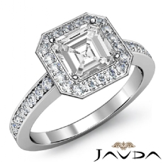 Halo Pave Set Filigree Asscher diamond engagement Ring in 14k Gold White