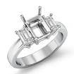 Three Stone Diamond Engagement Emerald Semi Mount Ring Setting 14k White Gold 0.5Ct - javda.com