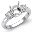 Diamond Three 3 Stone Setting Engagement Ring 14k White Gold Round Semi Mount 0.3Ct - javda.com