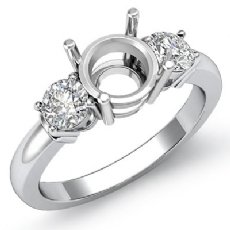 Diamond Three 3 Stone Setting Engagement Ring Platinum 950 Round Semi Mount  (0.3Ct. tw.)