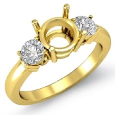 Diamond Three 3 Stone Setting Engagement Ring 18k Gold Yellow Round Semi Mount  (0.3Ct. tw.)