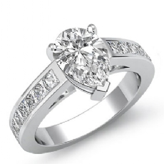 Channel Classic Sidestone Pear diamond engagement Ring in 14k Gold White