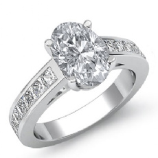 Channel Classic Sidestone Oval diamond engagement Ring in 14k Gold White