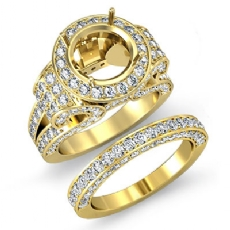 Diamond Engagement Ring Round Halo Pave Setting Bridal Set 14k Gold Yellow (3.7Ct. tw.)