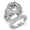 3.7Ct Diamond Engagement Ring Round Halo Pave Setting Bridal Set 14k White Gold - javda.com