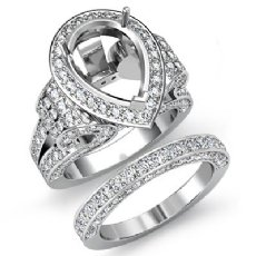 3.65 Ct Diamond Engagement Ring Pear Pave Bridal Sets Semi Mount 14K White Gold