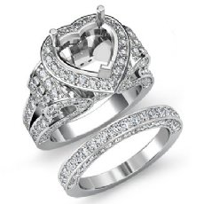 3.9Ct Diamond Engagement Ring Heart Halo Pave Setting Bridal Set 14K White Gold
