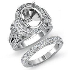 3.8 Ct Diamond Engagement Semi Mount Ring Oval Pave Bridal Sets 14K White Gold