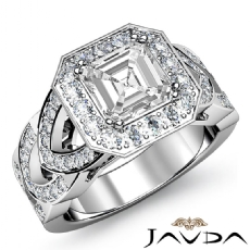 Designer Shank Halo Pave Asscher diamond engagement Ring in 14k Gold White