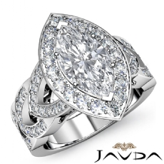 Designer Shank Halo Pave Marquise diamond engagement Ring in 14k Gold White