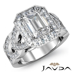 Designer Shank Halo Pave Emerald diamond engagement Ring in 14k Gold White