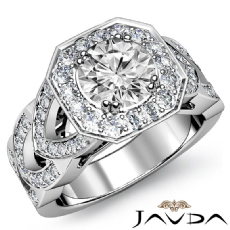 Designer Shank Halo Pave Round diamond engagement Ring in 14k Gold White