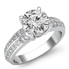 2 Row Shank Pave Set diamond Ring 14k Gold White