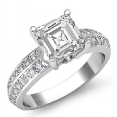 2 Row Shank Pave Set Asscher diamond engagement Ring in 14k Gold White
