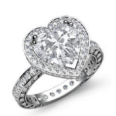 Eternity Filigree Halo Heart diamond engagement Ring in 14k Gold White