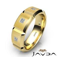 Beveled Edge Matte Men's Diamond Eternity Wedding Band 14k Gold Yellow  (0.5Ct. tw.)