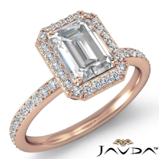 Halo Pave Basket Set Eternity Emerald diamond  Ring in 18k Rose Gold