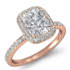 Halo Pave Basket Set Eternity Cushion diamond  Ring in 14k Rose Gold