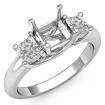Three Stone Princess Diamond Engagement Ring Semi Mount Setting 14k White Gold 0.8Ct - javda.com