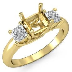 Three Stone Princess Diamond Engagement Ring Semi Mount Setting 18k Gold Yellow  (0.8Ct. tw.)