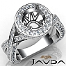 1.5 Ct Diamond Engagement Halo Pave Setting Ring Round Semi Mount 14K White Gold