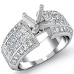 1.46Ct Round & Princess Diamond Engagement Invisible Setting Ring 14k White Gold - javda.com