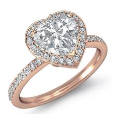 Halo Pave Basket Set Eternity diamond Ring 14k Rose Gold
