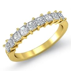 Princess Diamond Shared Prong Half Wedding Band Women's Ring 14k Gold Yellow  (0.75Ct. tw.)