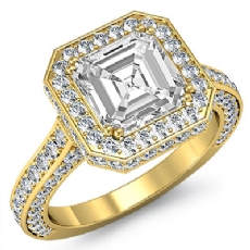 Circa Halo Side-Stone Pave Asscher diamond engagement Ring in 18k Gold Yellow