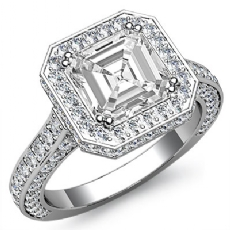 Circa Halo Side-Stone Pave Asscher diamond engagement Ring in Platinum 950