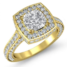 Circa Halo Side-Stone Pave Cushion diamond engagement Ring in 14k Gold Yellow