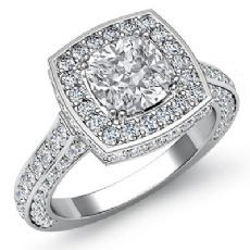 Circa Halo Side-Stone Pave Cushion diamond engagement Ring in 14k Gold White