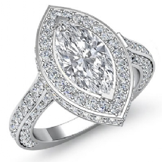 Circa Halo Side-Stone Pave Marquise diamond engagement Ring in 14k Gold White