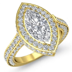 Circa Halo Side-Stone Pave Marquise diamond engagement Ring in 14k Gold Yellow