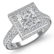 Circa Halo Side-Stone Pave diamond Ring 14k Gold White