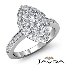Vintage Filigree Halo Pave Marquise diamond engagement Ring in 14k Gold White