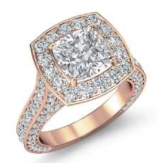 Halo Micro Pave Bridge Accent Cushion diamond engagement Ring in 14k Rose Gold
