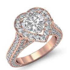 Halo Micro Pave Bridge Accent diamond Ring 14k Rose Gold
