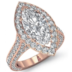 Halo Micro Pave Bridge Accent Marquise diamond engagement Ring in 18k Rose Gold