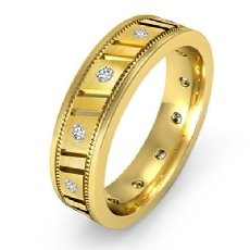 Vertical Groove Men's Diamond Carved Eternity Wedding Band 18k Gold Yellow  (0.25Ct. tw.)