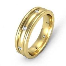 Men's Diamond Eternity Dome Wedding Band Bezel Set 14k Gold Yellow  (0.16Ct. tw.)