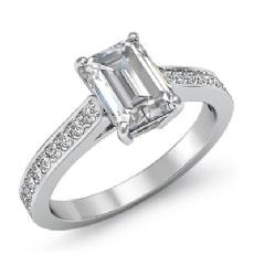 Pave Prong Set Sidestone Emerald diamond engagement Ring in 14k Gold White