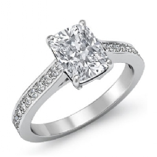 Pave Prong Set Sidestone Cushion diamond engagement Ring in 14k Gold White