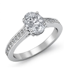 Pave Prong Set Sidestone Oval diamond engagement Ring in 14k Gold White