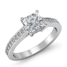 Pave Prong Set Sidestone Princess diamond engagement Ring in 14k Gold White