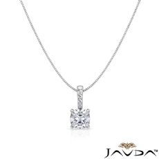 Solitaire Prong Set Bail Cushion diamond  Pendant in 14k Gold White
