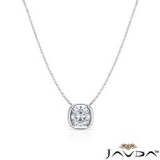 Floating Bezel Solitaire Cushion diamond  Pendant in 14k Gold White