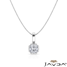 Floating Bezel Set Bail Cushion diamond  Pendant in 14k Gold White