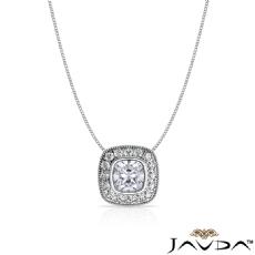 Milgrain Halo Bezel Floating Cushion diamond  Pendant in 14k Gold White
